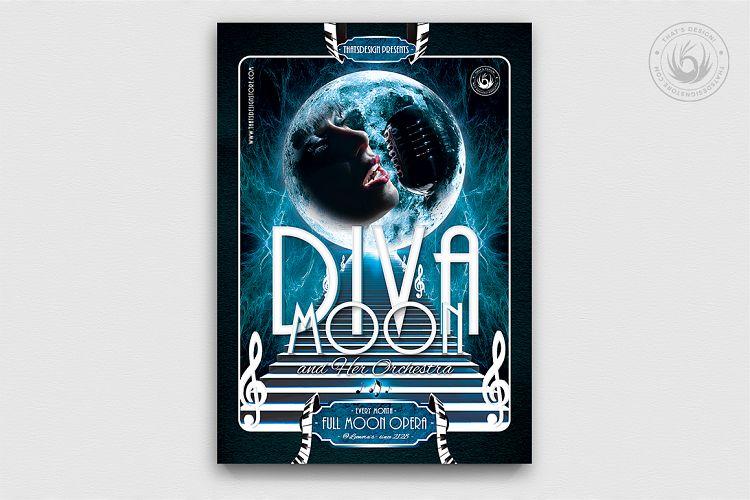 Retro Futuristic Full Moon Opera Flyer Template example image 1