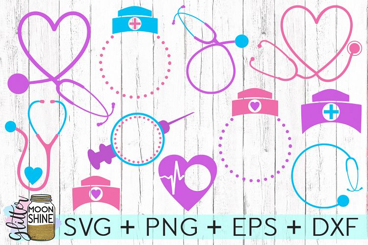 Nurse Monogram Frame Bundle Svg Dxf Png Eps Cutting Files 44437 Svgs Design Bundles