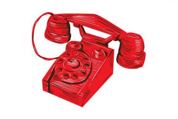 1930s Telephone Vintage Drawing example image 1