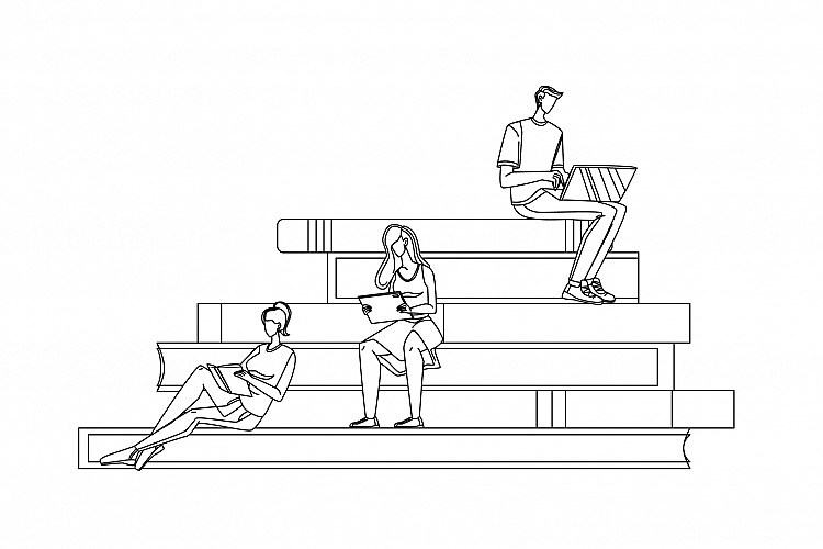 Scholar People Studying Reading On Tribune Vector example image 1