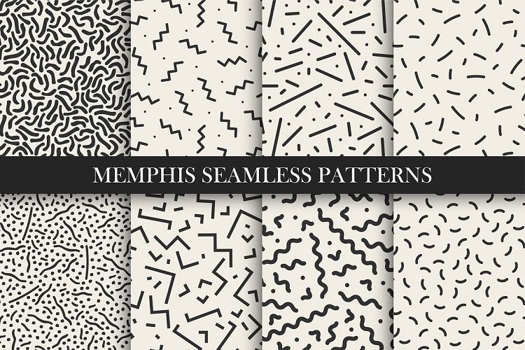 Memphis seamless patterns. Trend 80s example image 1