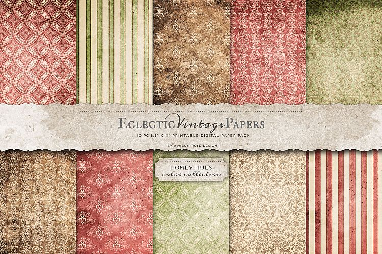 Vintage Printable Papers - Homey Hues example image 1