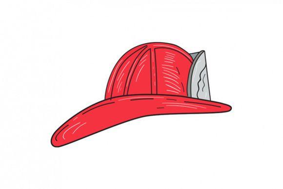 Vintage Fireman Firefighter Helmet Drawing example image 1