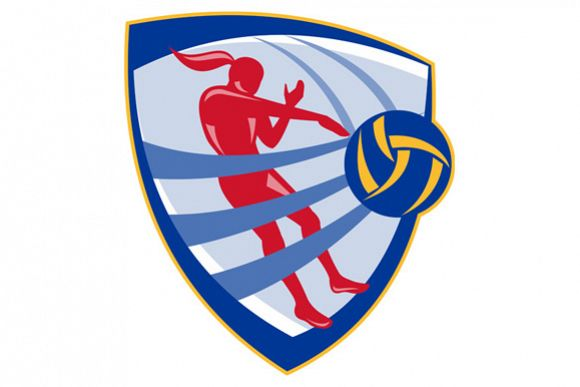Volleyball Player Spiking Ball Crest example image 1