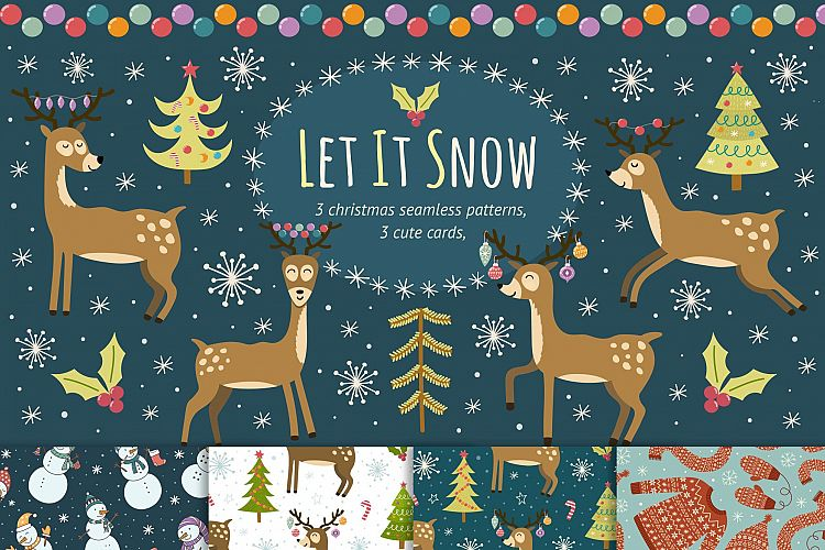 Let It Snow: seamless patterns & cards example image 1