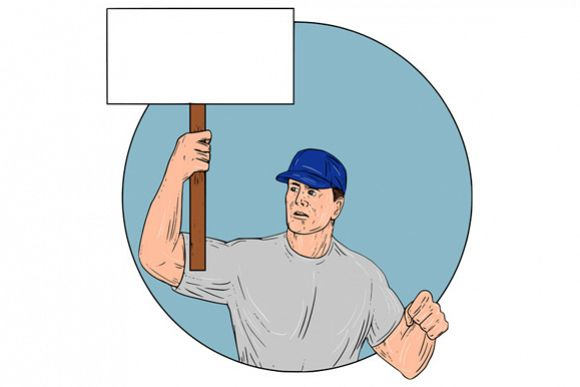 Industrial Worker Activist Placard Protesting Circle Drawing example image 1