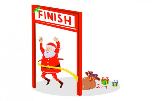 Father Christmas Santa Claus Finishing Race example image 1