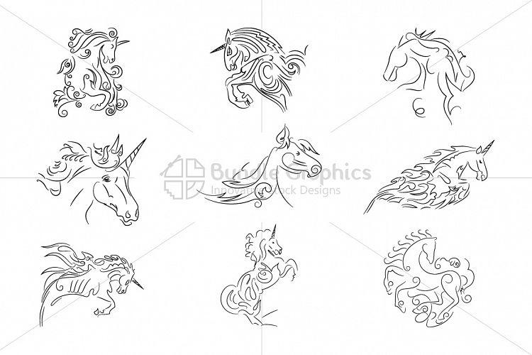 Unicorn Vector Set example image 1