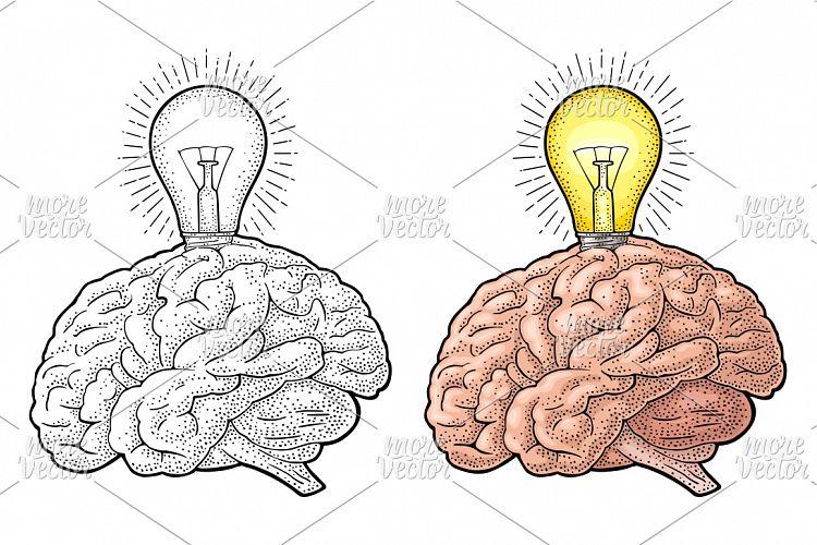 Human brain and glowing light incandesc   Design Bundles