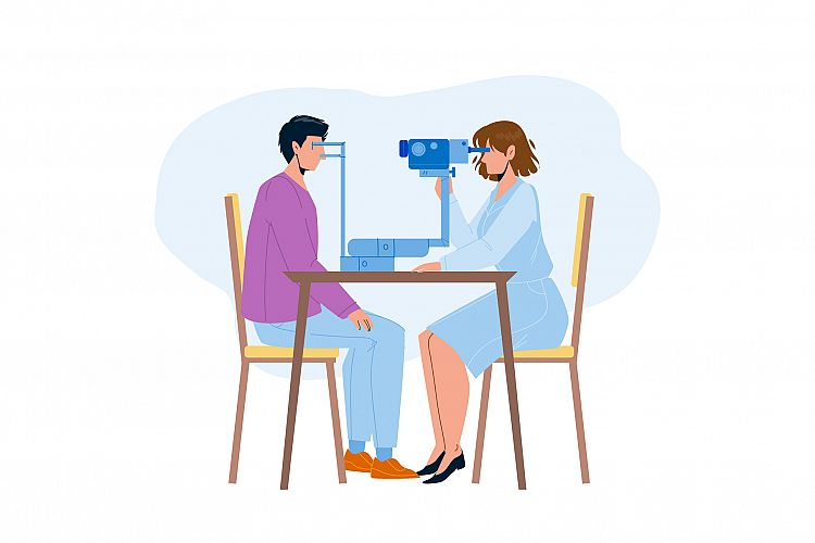 Eye Checking Patient In Doctor Cabinet Vector example image 1
