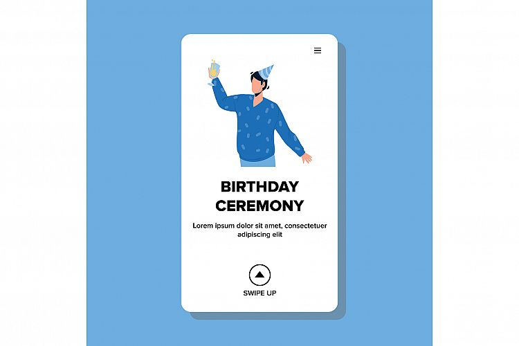 Birthday Ceremony Man Say Toast And Cheer Vector example image 1