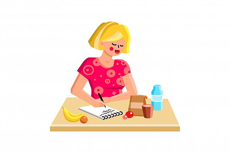 Shopping List Writing Girl On Kitchen Table Vector example image 1