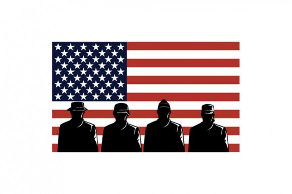 American Soldiers Stars and Stripes Flag example image 1