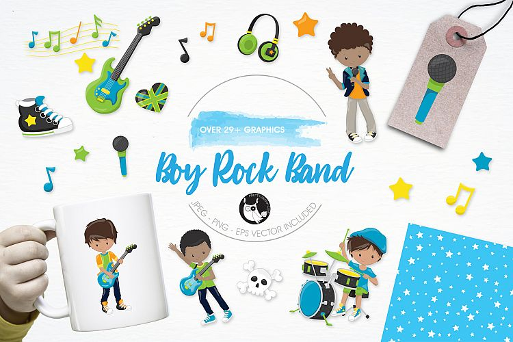 Boy Rock Band  graphics and illustrations example image 1