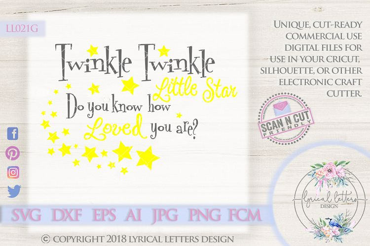 Twinkle Twinkle Loved You are SVG Cut File LL021G example image 1