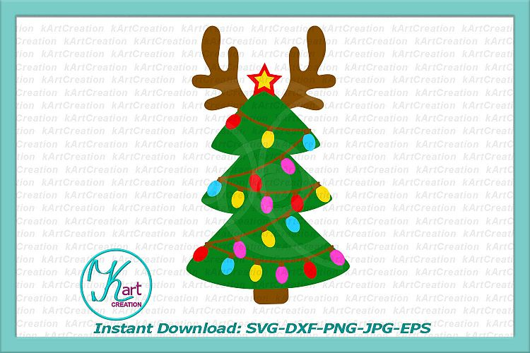 Christmas Tree With Deer Antlers Baby Toddler Clipart Svg 46840 Svgs Design Bundles