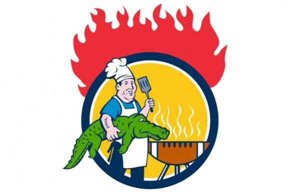 Chef Alligator Spatula BBQ Grill Fire Circle Cartoon example image 1