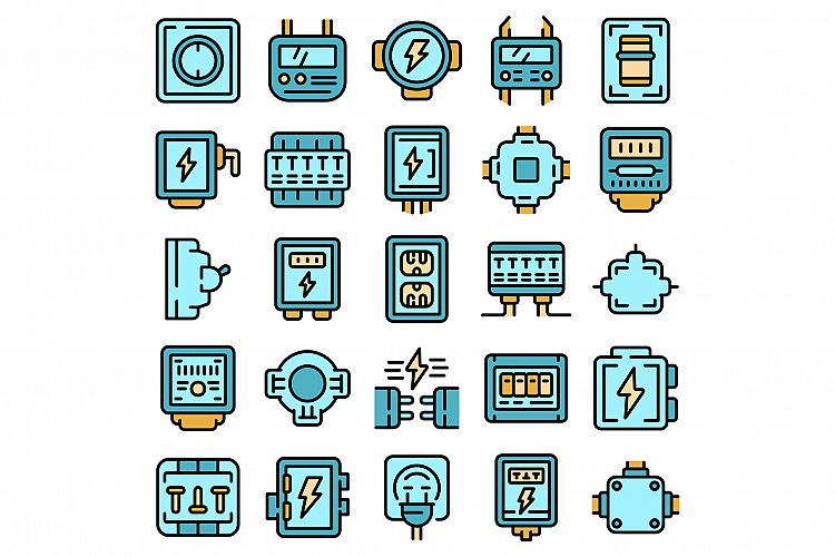 Junction box icons set vector flat example image 1