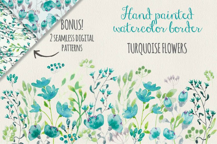 Watercolor border of turquoise flowers example image 1