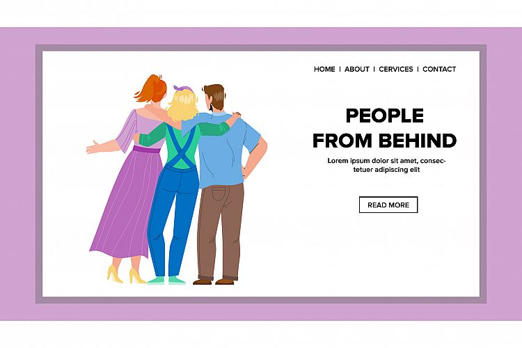 People From Behind Embracing Togetherness Vector example image 1