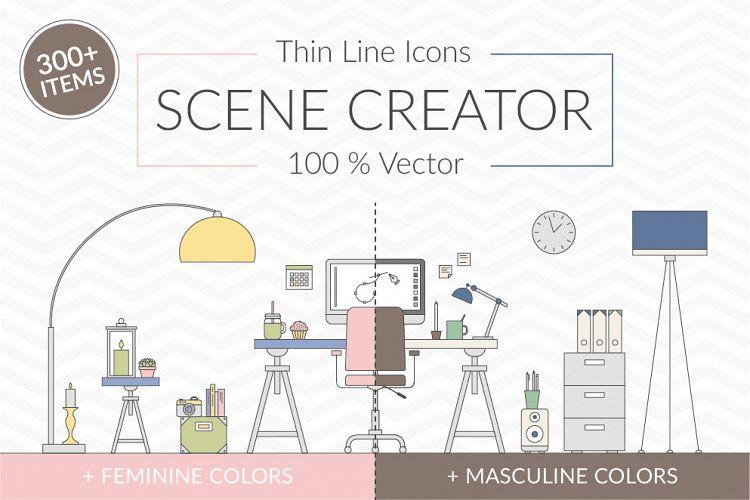 Vector Thin Line Scene Creator example image 1