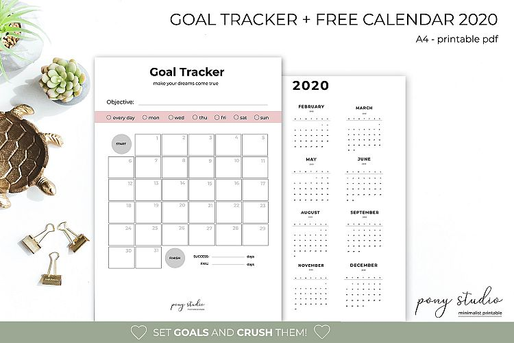 graphic relating to Printable Goal Tracker known as Function TrackerGoal Planner and No cost Calendar 2020