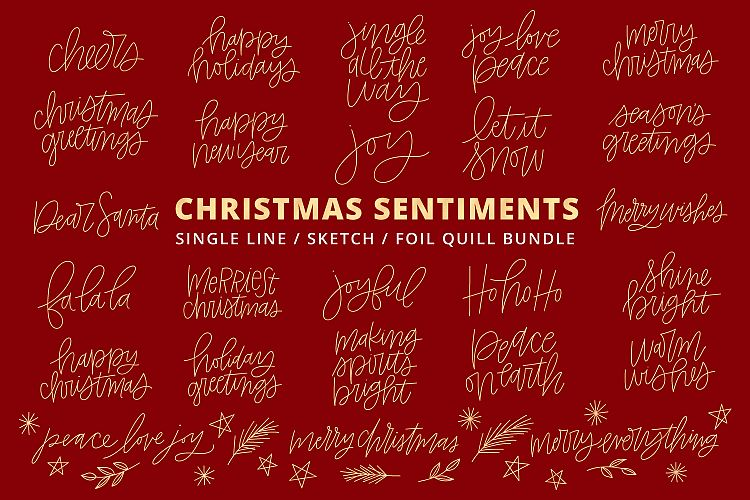 Single At Christmas.Foil Quill Single Line Sketch Christmas Phrases Bundle