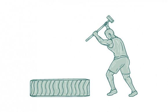 Fitness Athlete Sledge Hammer Striking Tire Drawing example image 1