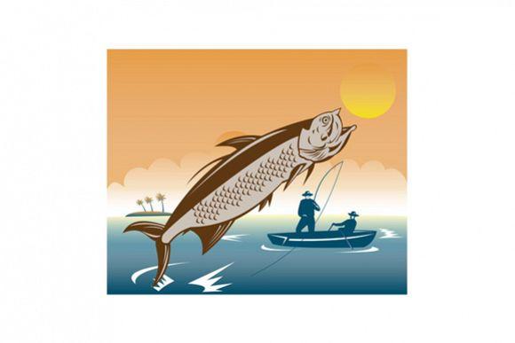 Tarpon Fish Jumping Reeled by Fisherman example image 1