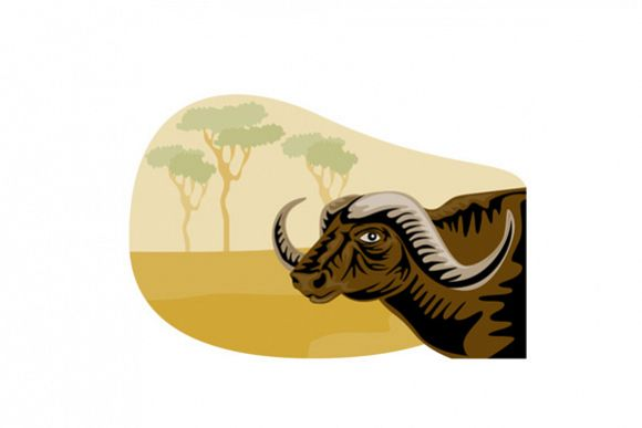 African Buffalo Retro example image 1