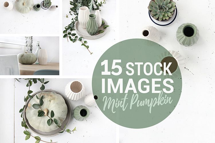 Spring styled stock photo's, mint green pumpkin home example image 1