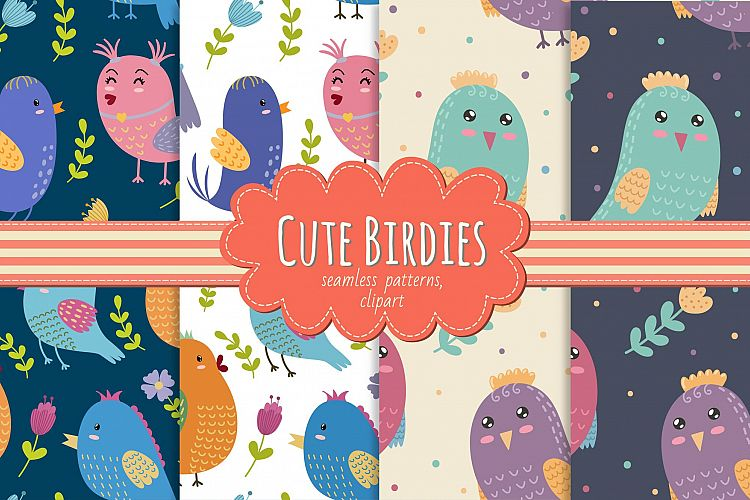 Cute Birdies: patterns & clipart example image 1