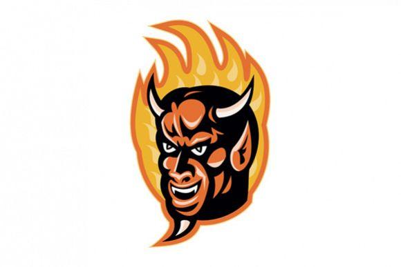 Demon Devil Horns Fire Retro example image 1