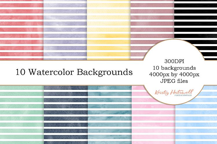 10 Horizontal Striped Watercolor Backgrounds example image 1