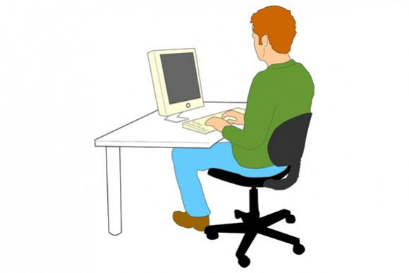 Man Typing Computer example image 1