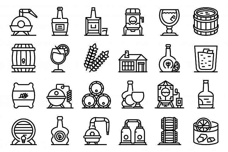 Bourbon icons set, outline style example image 1