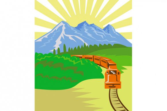 Diesel Train Locomotive Retro example image 1