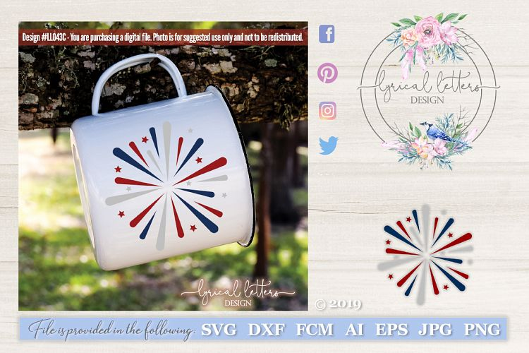 Fireworks July 4th Patriotic USA SVG DXF LL043C example image 1
