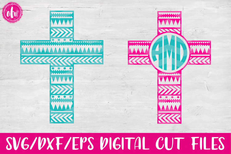 Aztec Cross Set - SVG, DXF, EPS Cut File example image 1