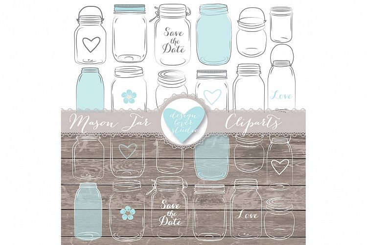 VECTOR Mason Jar clip arts example image 1