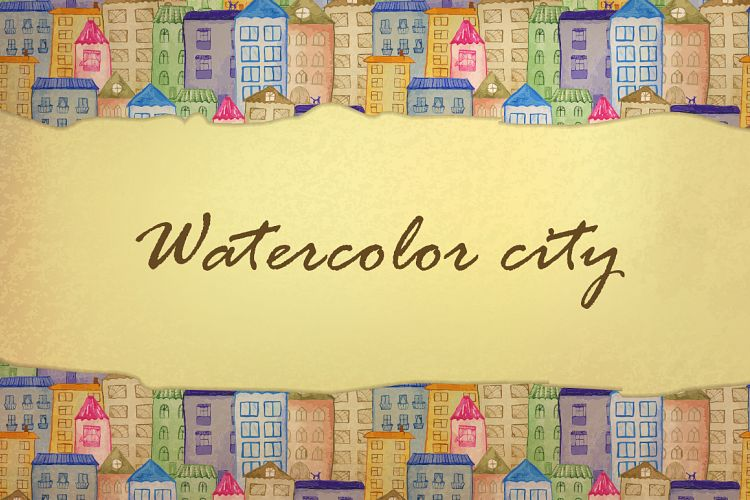Watercolor houses example image 1