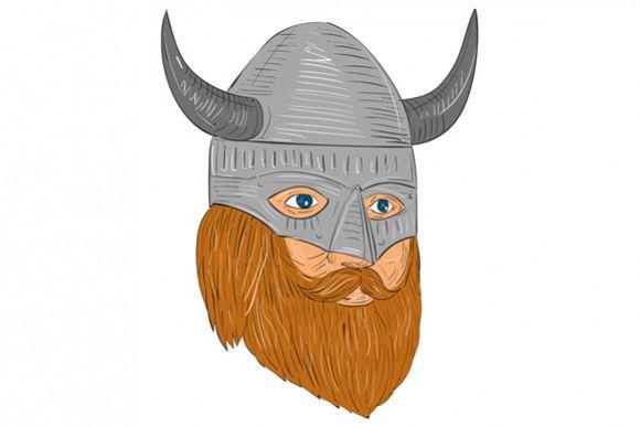 Viking Warrior Head Three Quarter View Drawing example image 1