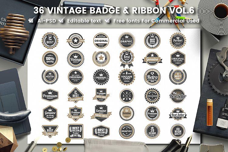 36 VINTAGE BADGE & RIBBON Vol 6