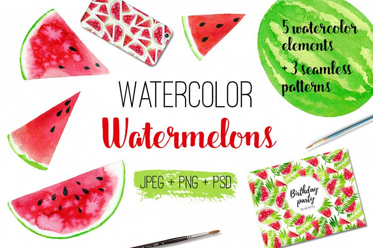 Watercolor watermelons example image 1