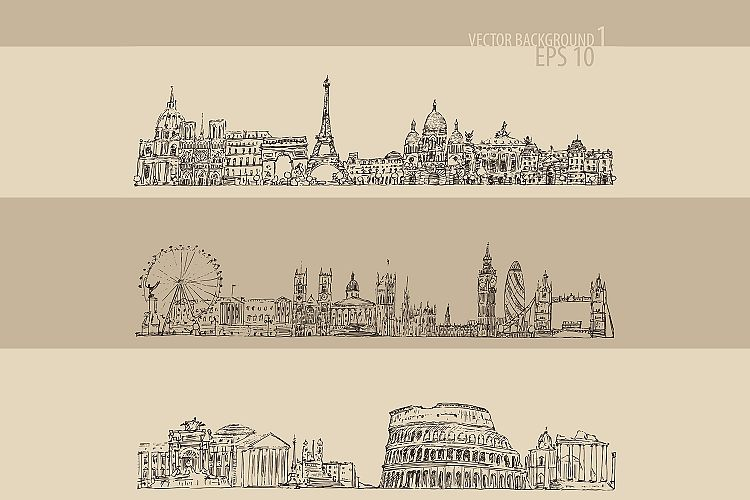 Set of cities (London, Paris, Rome) example image 1