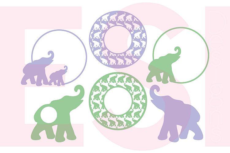 Elephant Circle Monogram Frame Designs Set example image 1