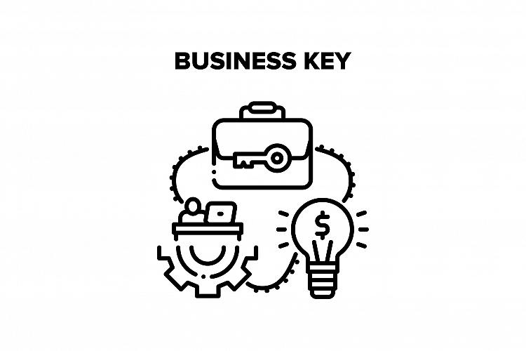 Business Key Vector Black Illustration