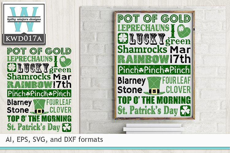 St. Patrick's SVG - St. Patrick's Day Subway Art example image 1