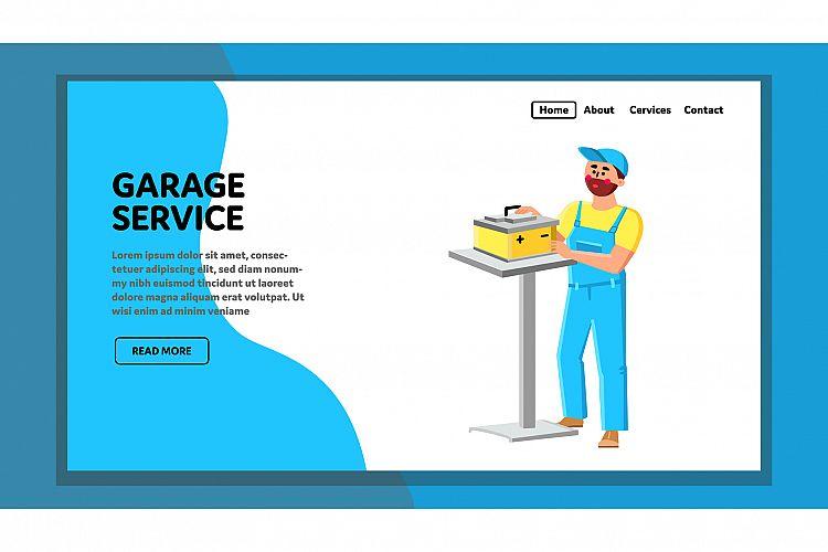Garage Service Examination Car Battery Vector example image 1