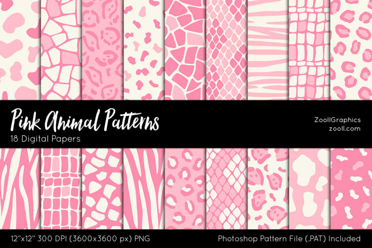 Pink Animals Patterns Digital Papers Unique Pink Patterns